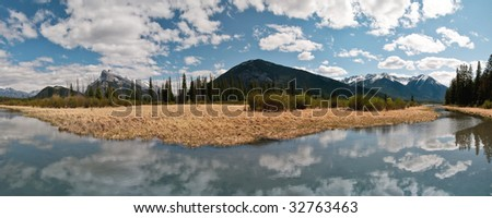 vermilion lakes panorama, banff - stock photo