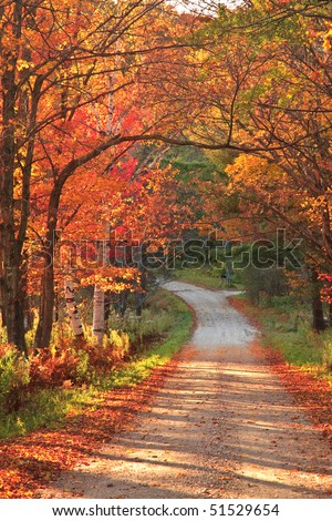 Vermont countryside road during autumn - stock photo