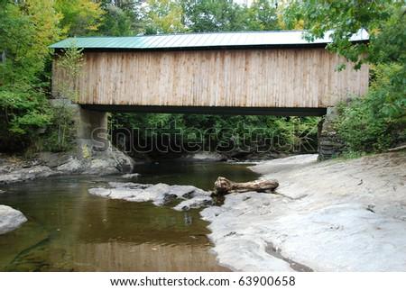 Vermont covered bridge - stock photo