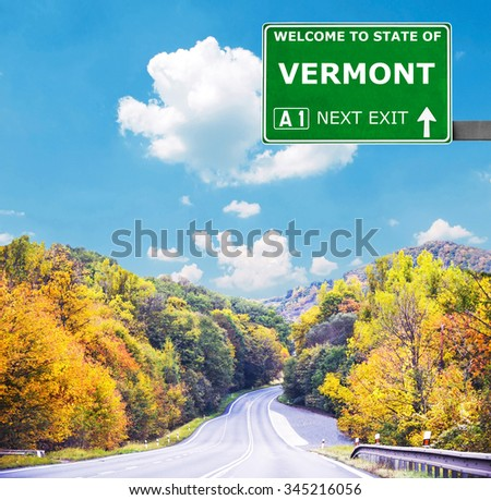 VERMONT road sign against clear blue sky - stock photo