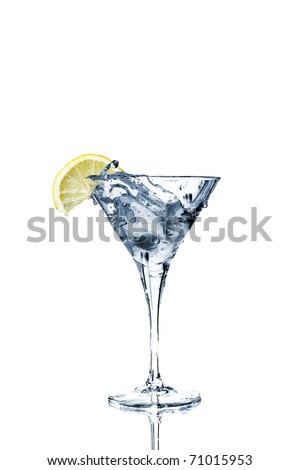 Vermouth cocktail inside martini glass over white background - stock photo