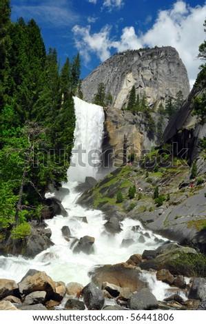 Vernal Falls and Half Dome, Yosemite National Park, California - stock photo