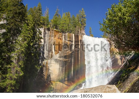 Vernal falls and rainbow. Yosemite national Park, California, USA - stock photo