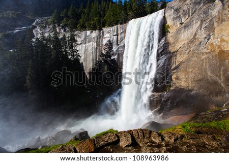 Vernal Falls with full flow in Yousemite National Park - stock photo