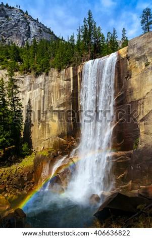 Vernal Falls.  Yosemite National Park, California USA. - stock photo