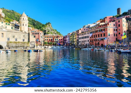 Vernazza, Cinque Terre, Italy - October 3, 2014: Fishing village part of the Cinque Terre National Park. UNESCO World Heritage Site and a popular tourist destination.