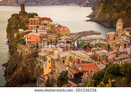 Vernazza, Cinqueterre, Cinque Terre National Park, Liguria, Italy - stock photo