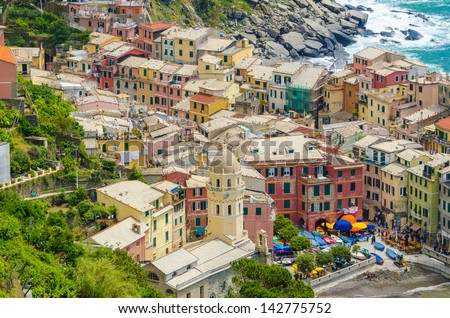 Vernazza in Cinque Terre, Italy, view at the town from mountain trail - stock photo