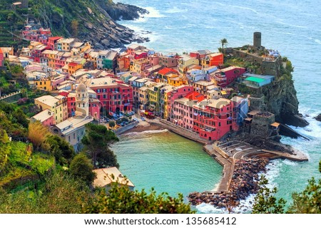 Vernazza in Cinque Terre, Italy, view from mountain trekking path - stock photo