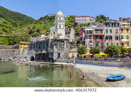 Vernazza, Italy  JUNE 17, 2013: Promenade of Vernazza, one of the Cinque Terre National Park - stock photo