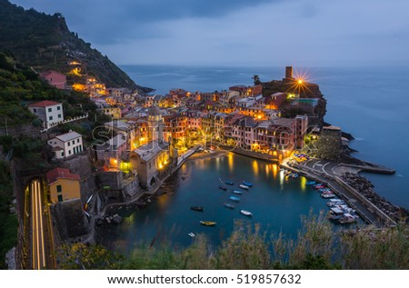 Vernazza village, aerial view at sunset. Cinque Terre, Italy