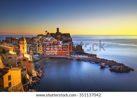 Vernazza village, aerial view on red sunset, Seascape in Five lands, Cinque Terre National Park, Liguria Italy Europe. Long Exposure. - stock photo