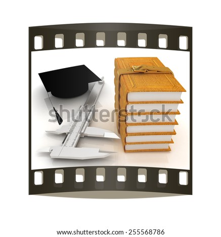 Vernier caliper, books and graduation hat. The best professional edication concept on a white background. The film strip - stock photo