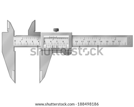 Vernier caliper isolated on white. Tool to measure distance with high accuracy. Qualitative illustration for engineering, measuring instrument, technology, craft, development, etc - stock photo