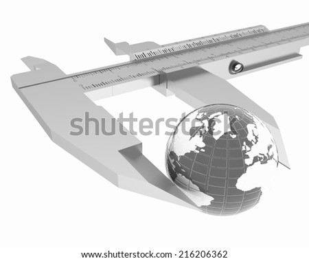 Vernier caliper measures the Earth. Global 3d concept on a white background - stock photo