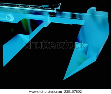 Vernier caliper on a black background - stock photo