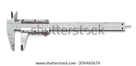 Vernier caliper on a white background - stock photo