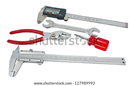 Vernier caliper on a white background, isolated image