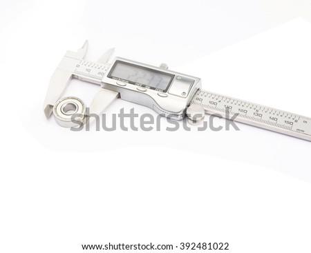 Vernier caliper on white background - stock photo