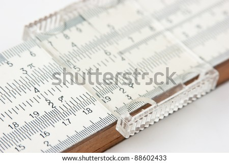 Vernier scale old logarithmic ruler
