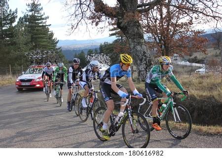 VERNON, FRANCE - MAR 01: Angel Madrazo Ruiz and Rein Taaramae riding La Classic Sud Ardeche UCI Europe Tour Pro Race on March 01, 2014 in Versas Hill, Ardeche, France. Florian Vachon won the race. - stock photo