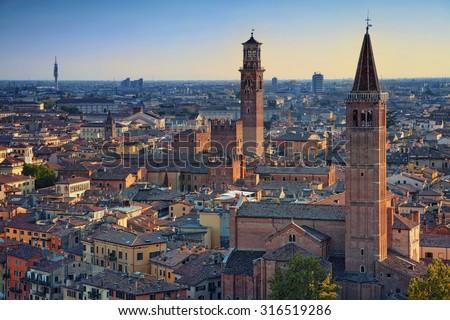 Verona. Image of Verona, Italy during summer sunset. - stock photo