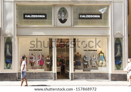 VERONA, ITALY � AUGUST 24: An outlet of Calzedonia,Verona, Italy 24 August, 2013. Founded in 1986, the Calzedonia network has approximately 1,650 shops and 23,000 employees worldwide. - stock photo