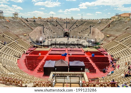 VERONA, ITALY - CIRCA MAY 2014: the Arena di Verona, Italy, circa May 2014. Built by the Romans in the 1st century AD, it is worldwide famous for the large-scale opera performances still given there - stock photo