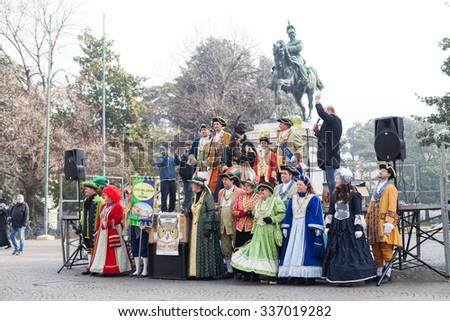 Verona, Italy -  February 08, 2015: Carnaval in Verona - one of the tourist traditional attractions in this ancient Italian city.