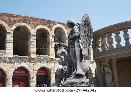 VERONA, ITALY - JULY 13: Prop of an angel outisde the Arena. July 13, 2015 in Verona. The Opera Festival is one of the main international events in the opera circuit. - stock photo