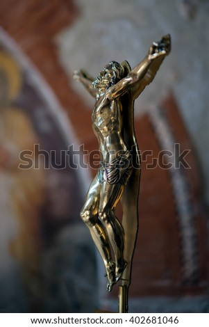 VERONA, ITALY - MARCH 24 : Sculpture of Christ on the Cross in Verona Cathedral in Verona Italy on March 24, 2016