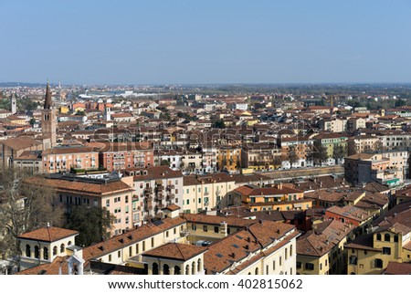 VERONA, ITALY - MARCH 24 : View of Verona from the Lamberti Tower in Verona Italy on March 24, 2016