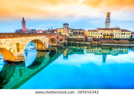 Verona, Italy. Scenery with Adige River and Ponte di Pietra. - stock photo