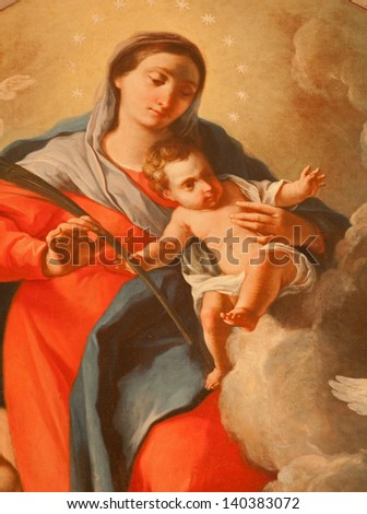 VERONA - JANUARY 28: Detail of  Madonna on paint by A. Elenetti from 18. cent. in church San Fermo Maggiore on January 28, 2013 in Verona, Italy - stock photo