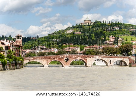 Verona, northern Italy. View of city and river in evening sunlight - stock photo