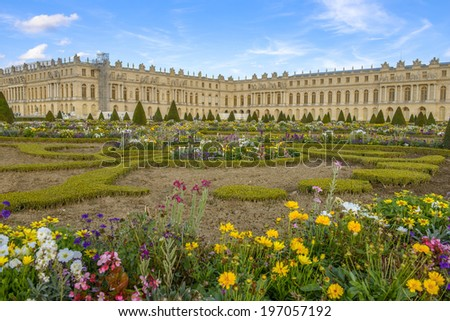 Versailles Chateau and gardens view near Paris, France - stock photo