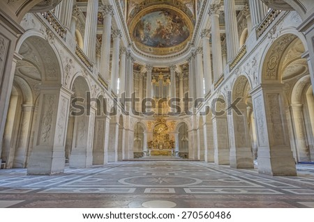 VERSAILLES, FRANCE - APRIL 18, 2015 : The royal chapel (Chapelle royale) in the Palace of Versailles, the residence of the sun king Louis XIV.