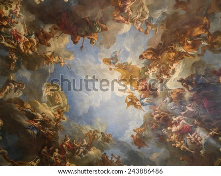 VERSAILLES, FRANCE - AUGUST 28 2013: Ceiling fresco of one of many ornamental chambers of the Versailles Palace, France  - stock photo