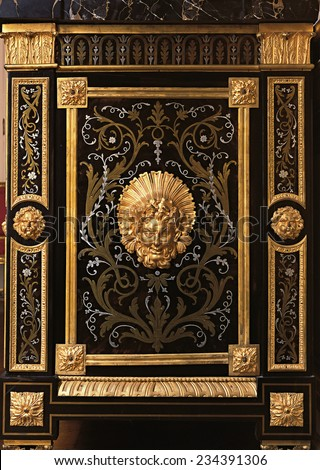 Versailles, France - 10 August 2014 : Details of furniture with ornament at Versailles Palace ( Chateau de Versailles ). It was added to the UNESCO list of World Heritage Sites.