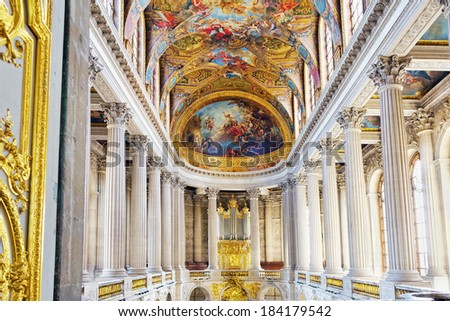 VERSAILLES FRANCE - SEPTEMBER 21  Famous Royal Chapel inside Versailles, France on september 21, 2013. Palace Versailles was a Royal Chateau-most beautiful palace in France and word.  - stock photo