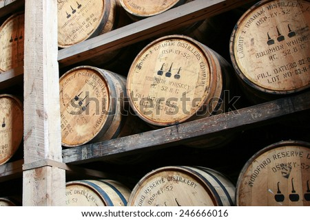 VERSAILLES, KY-JANUARY, 2015:  Woodford Reserve announces the introduction of a rye whiskey to its lineup.  Woodford Reserve of Versailles, KY is the oldest and smallest distillery in Kentucky. - stock photo