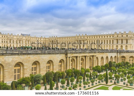 Versailles Palace. Palace Versailles was a royal chateau. It was added to UNESCO list of World Heritage Sites. Versailles, France.