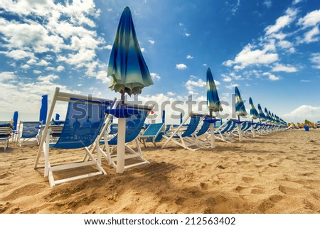 Versilia beach. Tuscany, Italy - stock photo