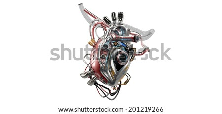 VERSION 2.0. Unique robotic internal organ - steel heart with info screen / Heart Protocol Systems - stock photo