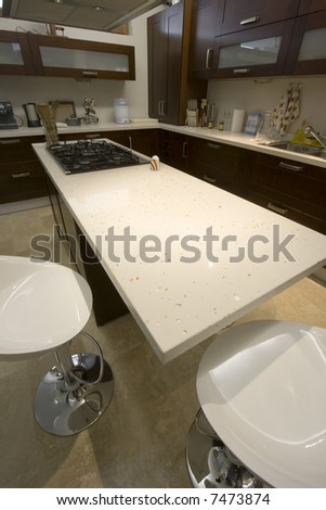 Vertial Shot of a Trendy Modern Kitchen - stock photo