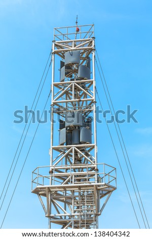 Vertical axis wind turbine for generating electric power - stock photo