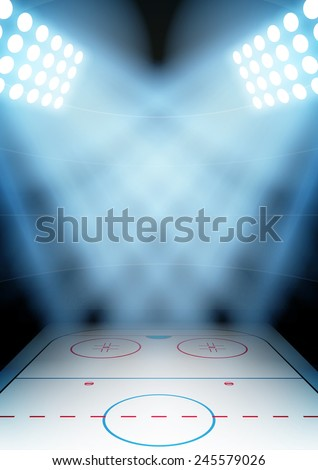 Vertical Background for posters night ice hockey stadium in the spotlight.  - stock photo