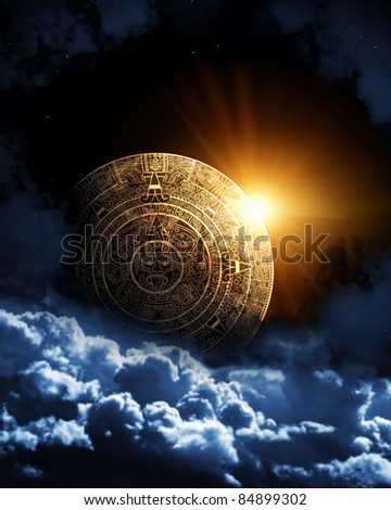 Vertical background with Maya calendar and space cloud - stock photo