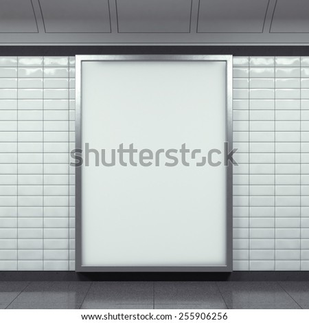 vertical billboard on metro station. 3d rendering - stock photo