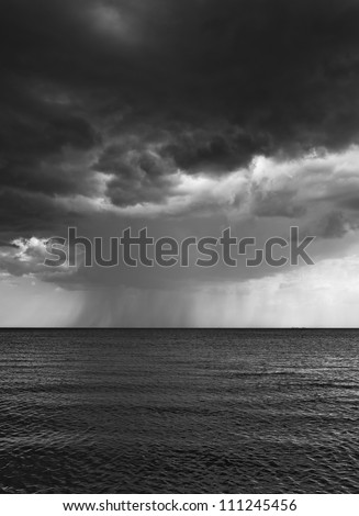 vertical black and white photo of rain over the sea